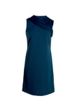 Sleeveless Crepe Dress with Chiffon Neck Draping