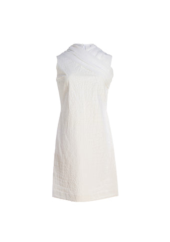 Croc Textured Linen Dress With Chiffon Draping
