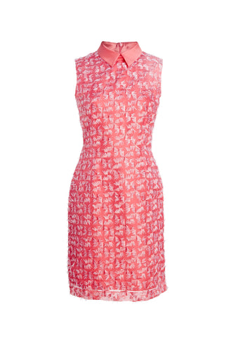 Embroidered Silk Sleeveless Dress With Mikado Collar