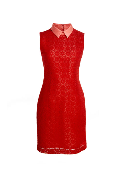 Sleeveless Red Lace Dress With Pink Mikado Collar and Lining