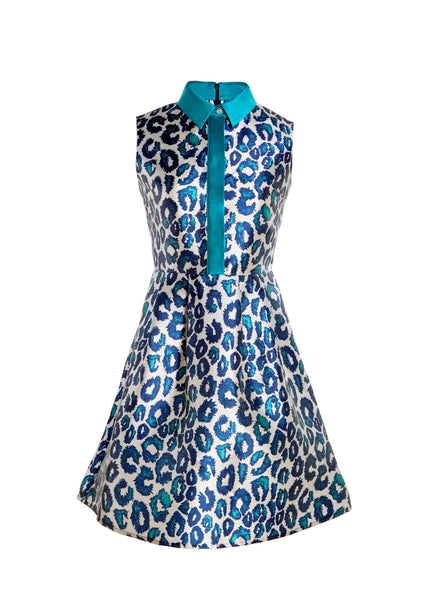 Sea Urchin Leopard Print Sleeveless Dress With Mikado Collar and Party Skirt