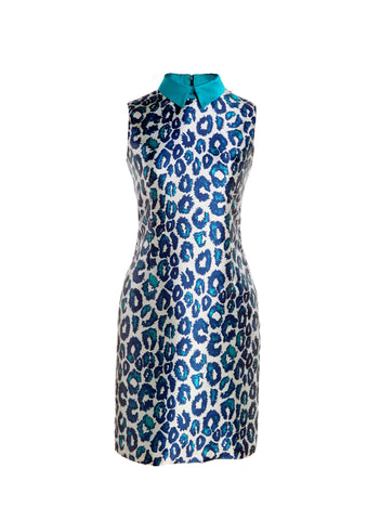 Sea Urchin Leopard Print Sleeveless Dress With Mikado Collar