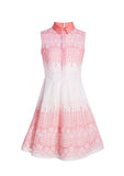 Sleeveless Coral Lace Resina Cotton Dress With Mikado Collar