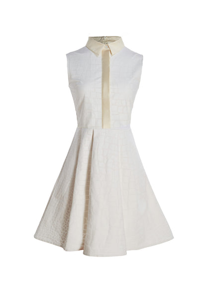 Sleeveless Croc Textured Linen Dress With Mikado Collar and Party Skirt