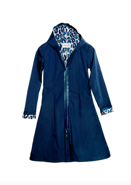 Waterproof Trench Coat With Hoodie and Sea Urchin Leopard Print Lining