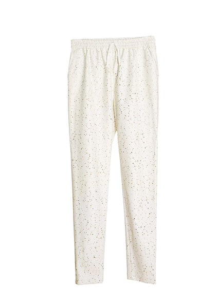 Laser Cut Dotted Faux Leather Pants
