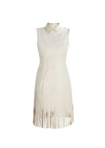 Lamb Leather Fringe Dress With Mikado Collar