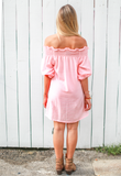 leonor silva pink striped dress back view