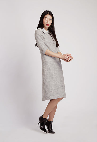 Etain Light Grey Lace Collar Knit Dress