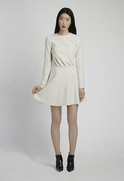 Ivory Woven Knit Long Sleeve Dress