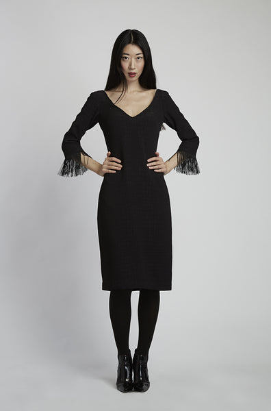 Fringe Sleeve Tuxedo Dress