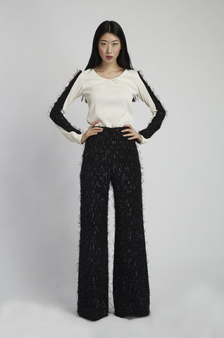 leonor silva eyelash wide leg pants in black
