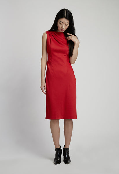 Red Mid-Length Dress with Cape Back