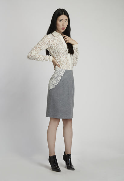 Straight Wool Skirt with Lace Side