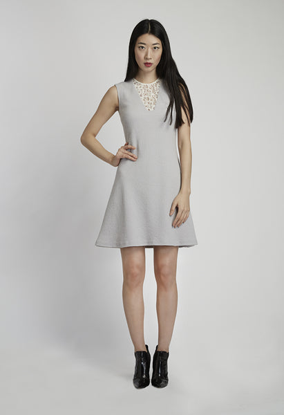 Light Grey Textured Wool Dress with Lace