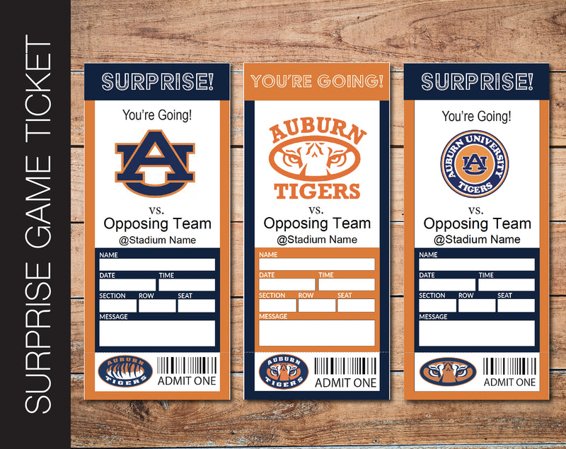 Printable Auburn Tigers College Game Gift Reveal - Kaci Bella Designs
