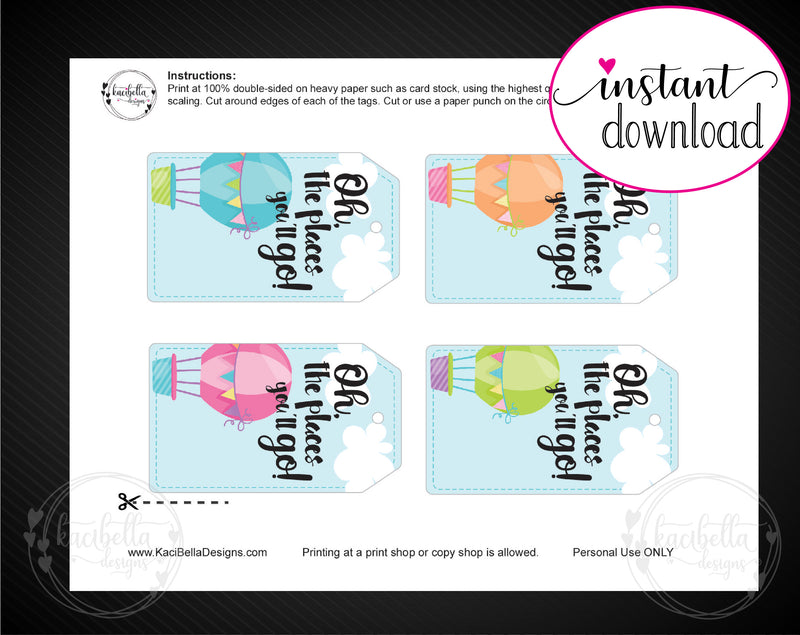 Printable Oh The Places You'll Go Hot Air Balloon Themed Gift Tags - Kaci Bella Designs