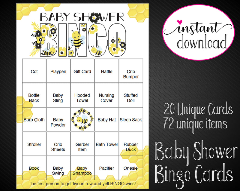 Printable Gender Neutral Shower Editable Bingo Cards - Kaci Bella Designs