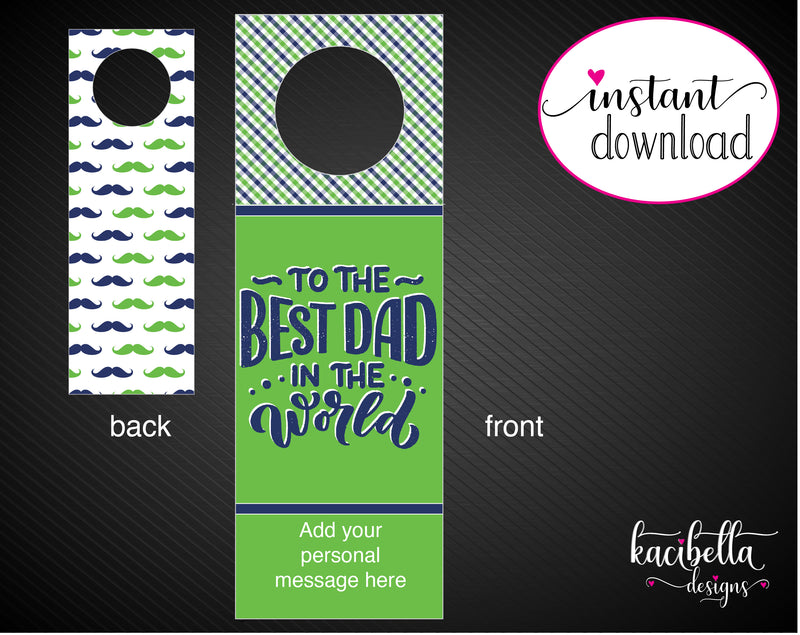 Printable Best Dad Personalized Double-Sided Wine Bottle Gift Tags - Kaci Bella Designs