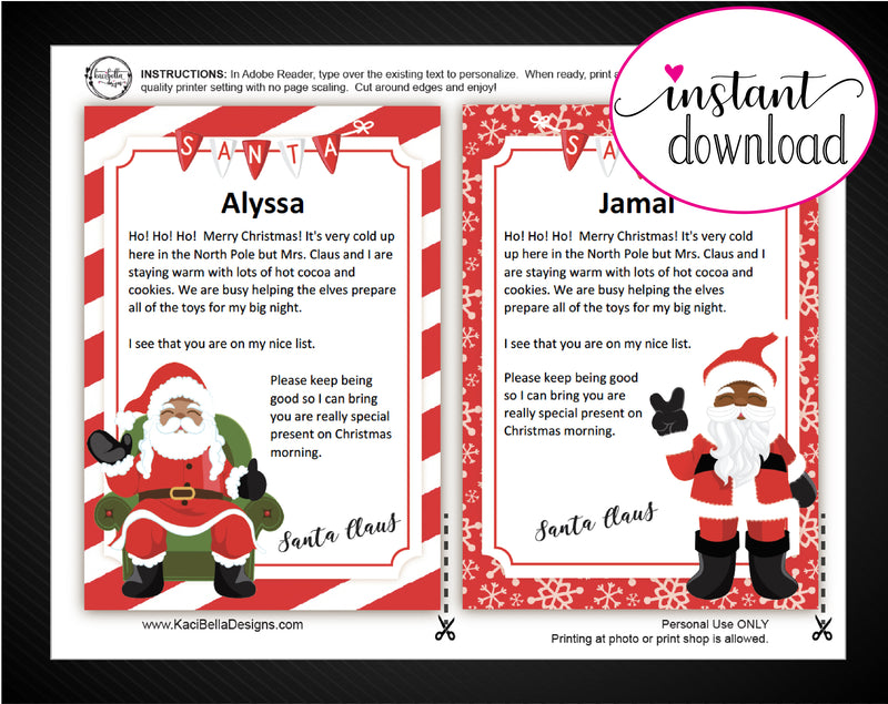 Printable Santa Claus Personalized Letters - Kaci Bella Designs