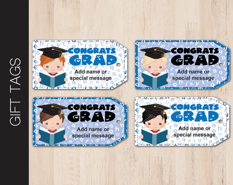 Printable Congrats Grad Graduation Themed Gift Tags - Kaci Bella Designs