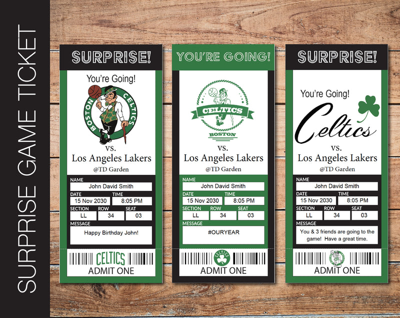 Printable Boston Celtics Professional Basketball Game Gift Reveal - Kaci Bella Designs