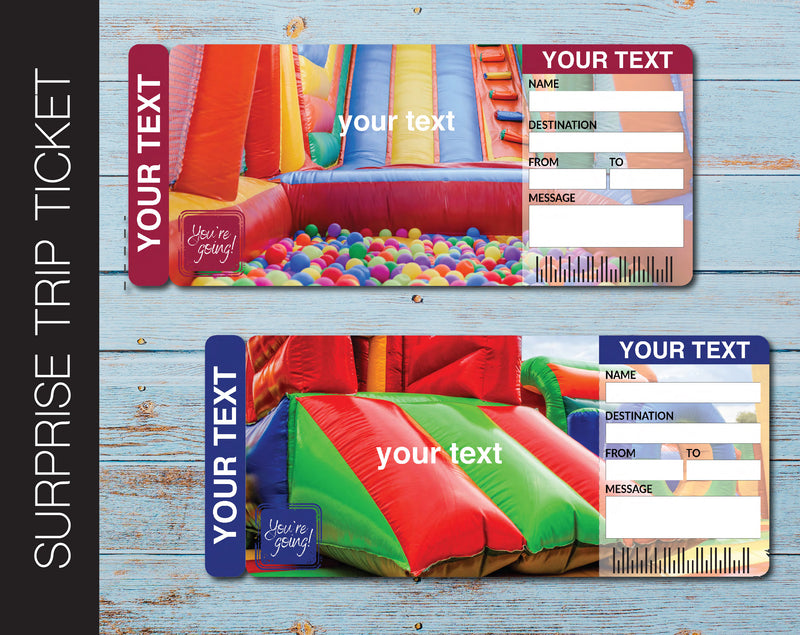 Printable Bounce House Surprise Gift Reveal Ticket - Kaci Bella Designs