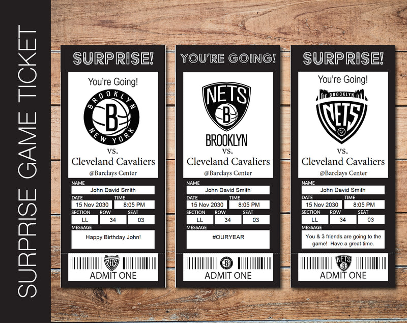 Printable Brooklyn Nets Professional Basketball Game Gift Reveal - Kaci Bella Designs
