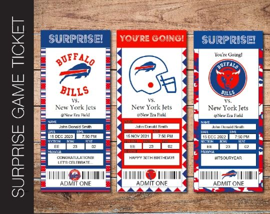 Printable Buffalo Bills Professional Football Game Gift Reveal - Kaci Bella Designs