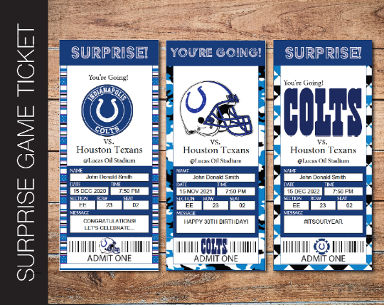 Printable Indianapolis Colts Professional Football Game Gift Reveal - Kaci Bella Designs