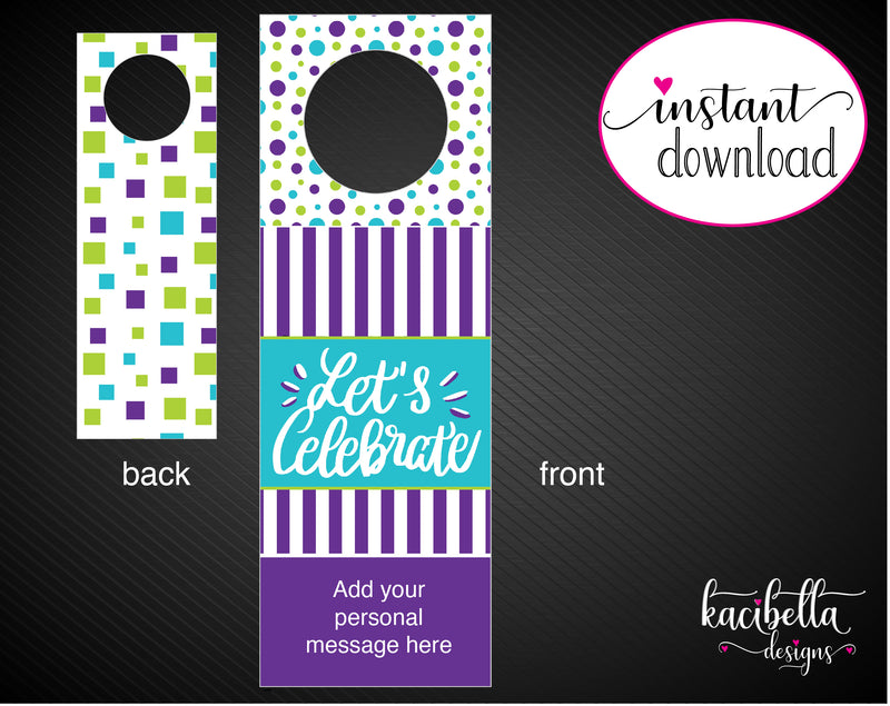 Printable Celebration Personalized Double-Sided Wine Bottle Gift Tags - Kaci Bella Designs