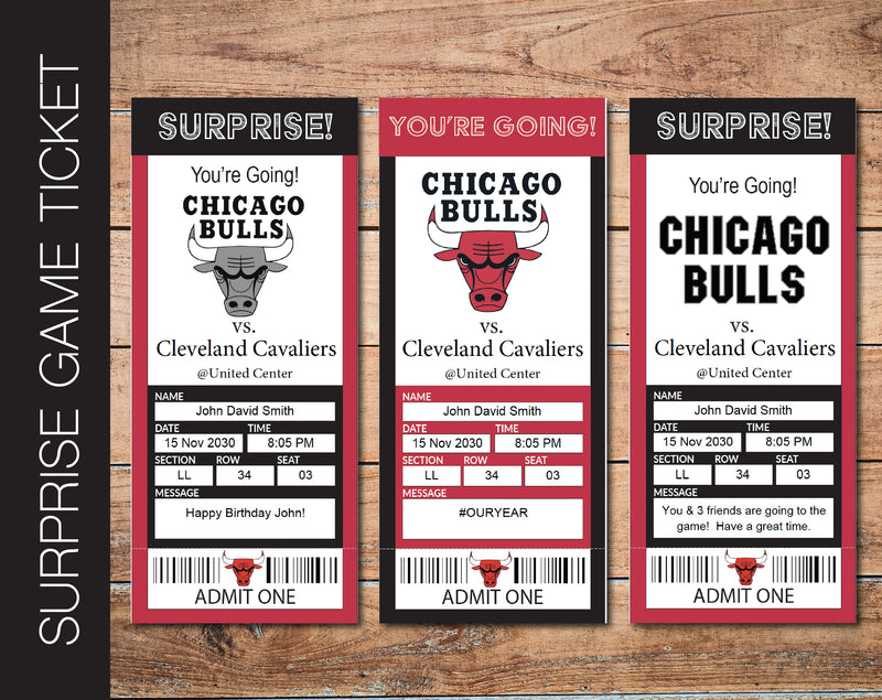 Printable Chicago Bulls Professional Basketball Game Gift Reveal - Kaci Bella Designs