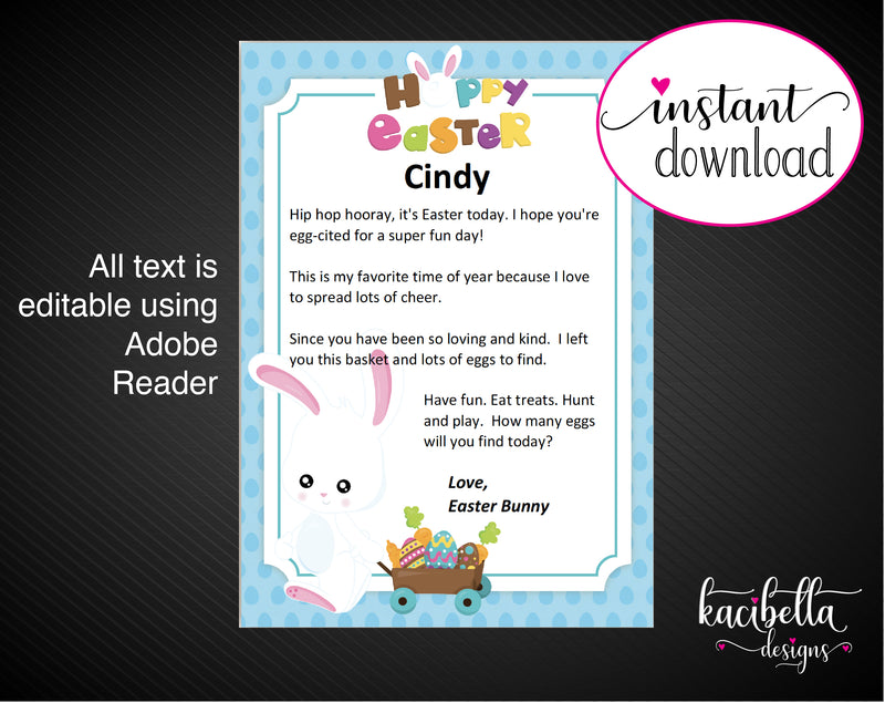 Printable Easter Bunny Personalized Letters - Kaci Bella Designs