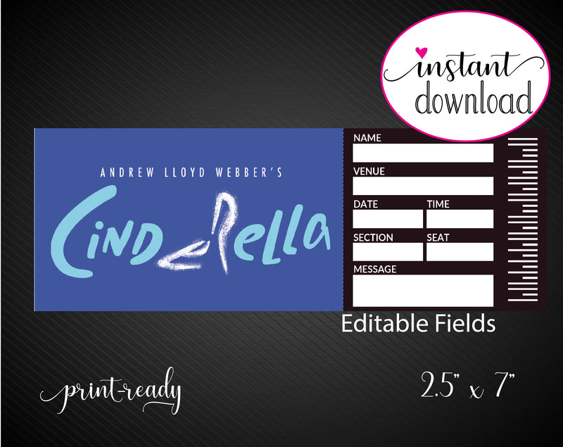 Printable Cinderella Broadway Show Gift Reveal - Kaci Bella Designs