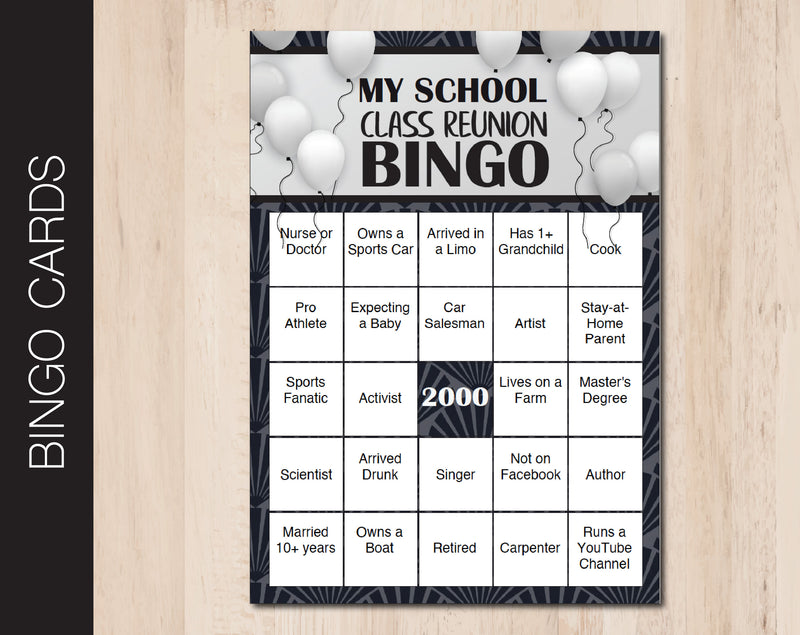 Printable Class Reunion Editable Bingo Cards - Kaci Bella Designs