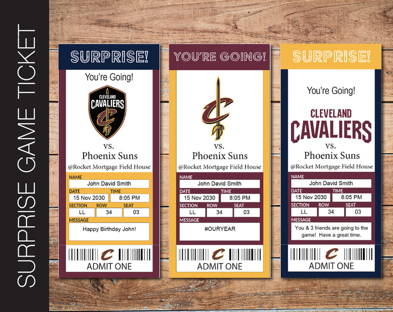 Printable Cleveland Cavaliers Professional Basketball Game Gift Reveal - Kaci Bella Designs
