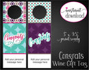 Printable Congratulations Personalized Double-Sided Wine Bottle Gift Tags - Kaci Bella Designs