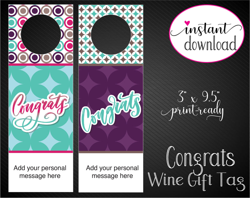 Printable Congratulations Personalized Wine Gift Tags - Kaci Bella Designs