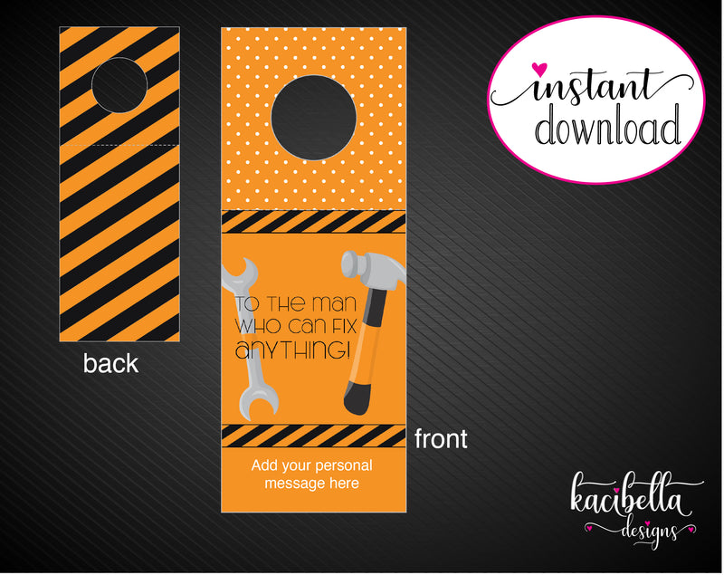 Printable Tools Themed Beer Bottle Personalized Gift Tags - Kaci Bella Designs