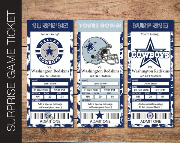 Printable Dallas Cowboys Professional Football Game Gift Reveal - Kaci Bella Designs
