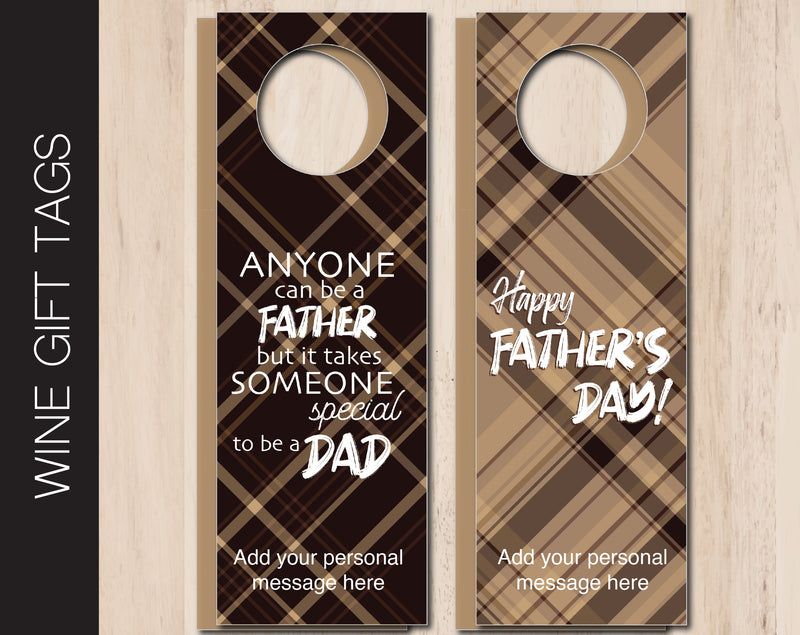 Printable Father's Day Themed Personalized Double-Sided Wine Bottle Gift Tags - Kaci Bella Designs
