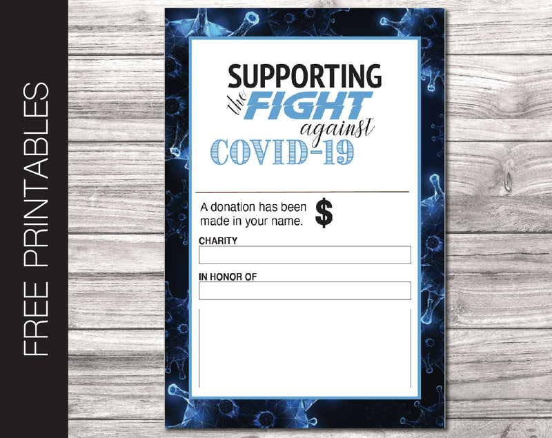 Free Printable Corona Virus Charity Donation Gift Card - Kaci Bella Designs