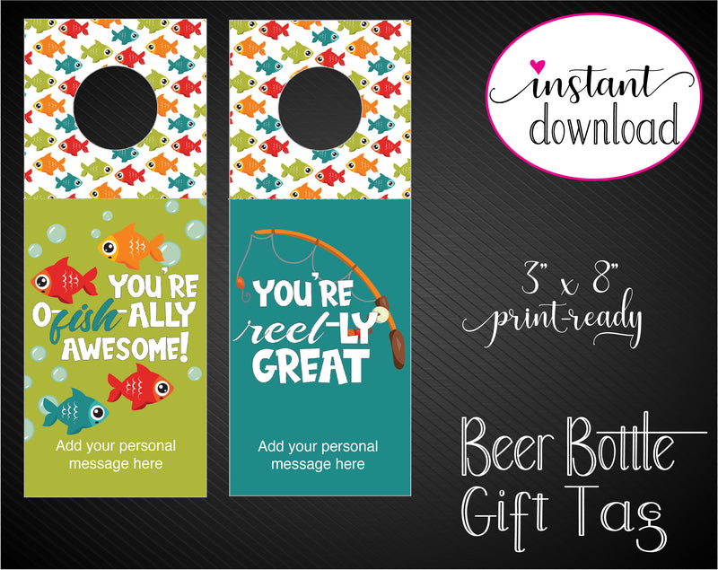 Printable Fish Themed Beer Bottle Personalized Gift Tags - Kaci Bella Designs
