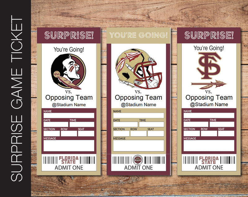 Printable Florida State Seminoles College Game Gift Reveal - Kaci Bella Designs
