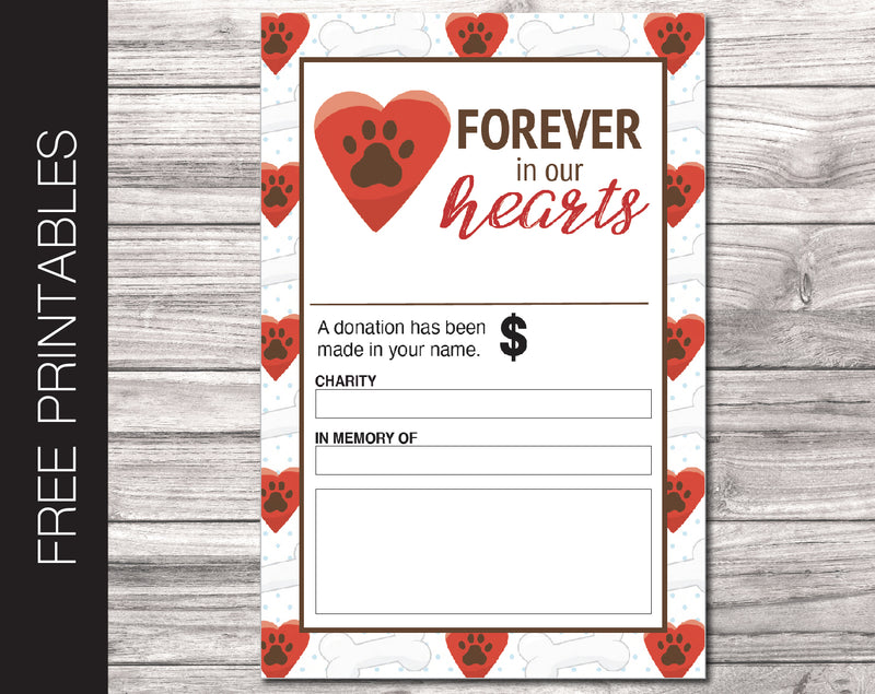 Free Printable Pet Loss Charity Donation Gift Card - Kaci Bella Designs