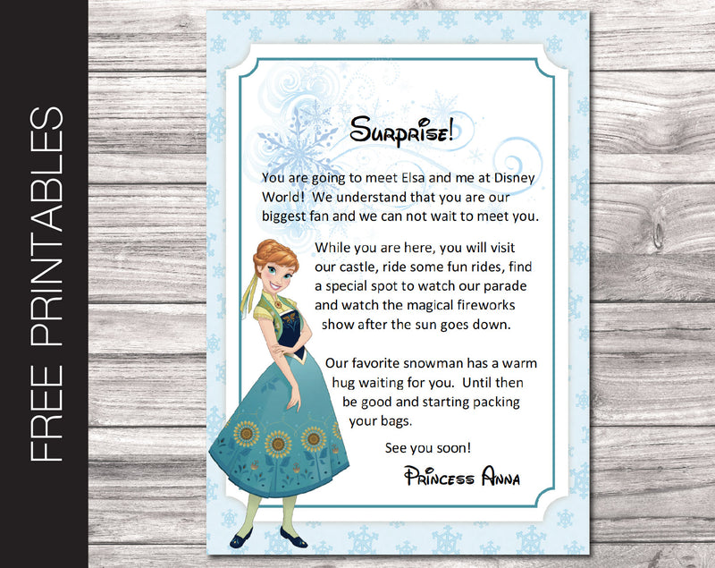 Free Printable Letter from Anna Surprise Disney World Trip Reveal - Kaci Bella Designs