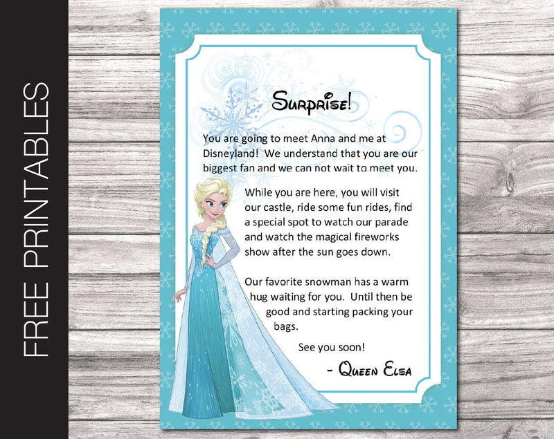 Free Printable Letter from Elsa Surprise Disneyland Trip Reveal - Kaci Bella Designs