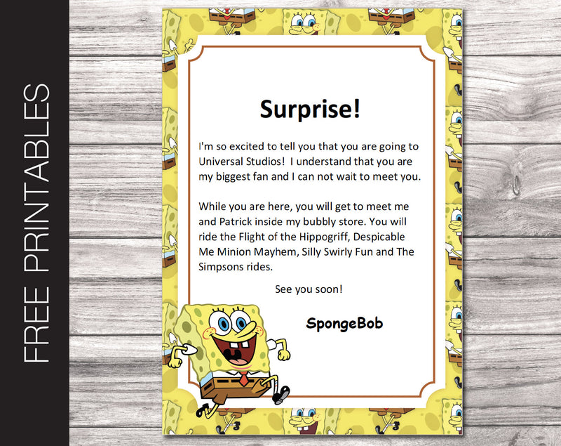 Free Printable SpongeBob Letter for  Universal Studios Trip Reveal - Kaci Bella Designs