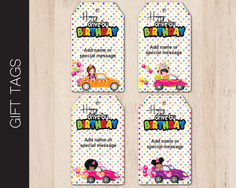 Printable Drive-By Birthday Girls Themed Gift Tags - Kaci Bella Designs