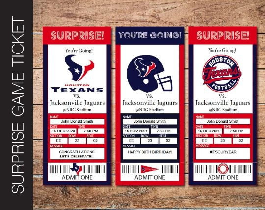 Printable Houston Texans Professional Football Game Gift Reveal - Kaci Bella Designs
